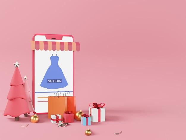 Koncepcja e-commerce, zakupy przez smartfona z pudełkami na prezenty w boże narodzenie
