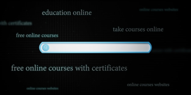 Koncepcja edukacji. 3d ikony paska wyszukiwania i tekstu na ciemnym tle.