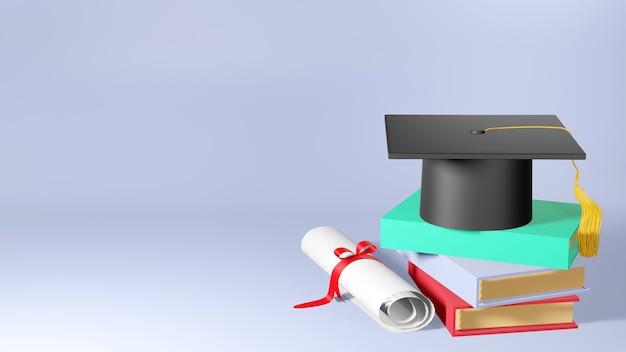 Koncepcja edukacji. 3d kapelusza, książki na różowym tle. nowoczesna, płaska konstrukcja izometryczna koncepcja edukacji. powrót do szkoły.