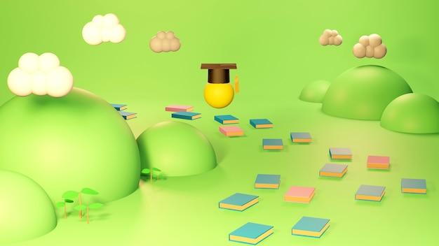 Koncepcja edukacji. 3d kapelusza, książki na zielonym tle. nowoczesna, płaska konstrukcja izometryczna koncepcja edukacji. powrót do szkoły.