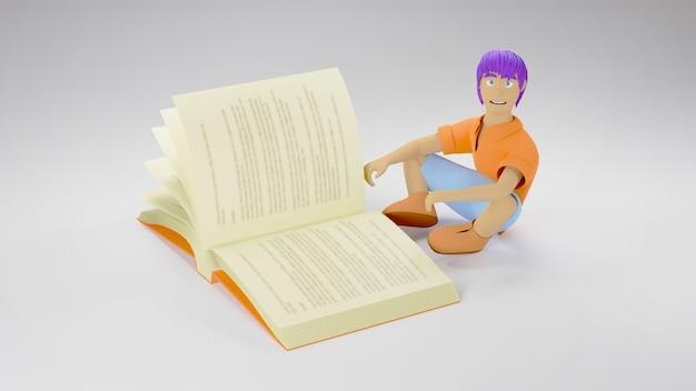 Koncepcja edukacji. 3d książki i chłopca na białej powierzchni. nowoczesna, płaska konstrukcja izometryczna koncepcja edukacji. powrót do szkoły.
