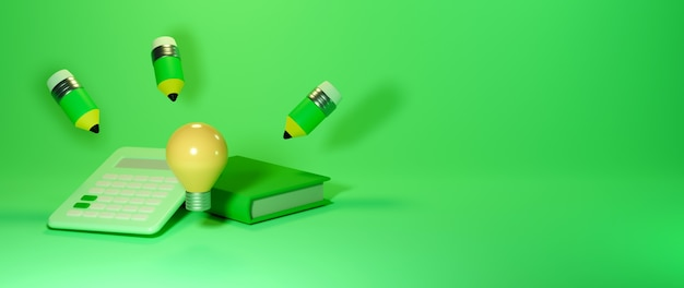 Koncepcja edukacji. 3d książki, ołówek. nowoczesna koncepcja izometryczny projekt płaski