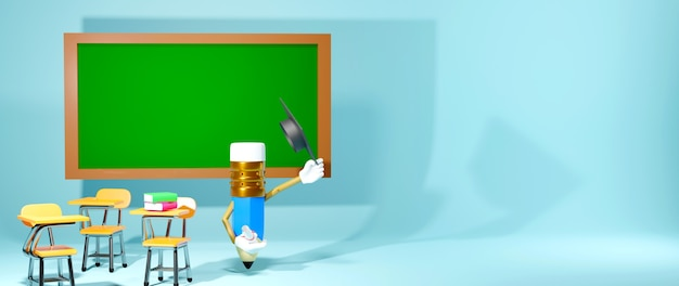 Koncepcja edukacji. 3d ołówek i ławek szkolnych na niebieskim tle.