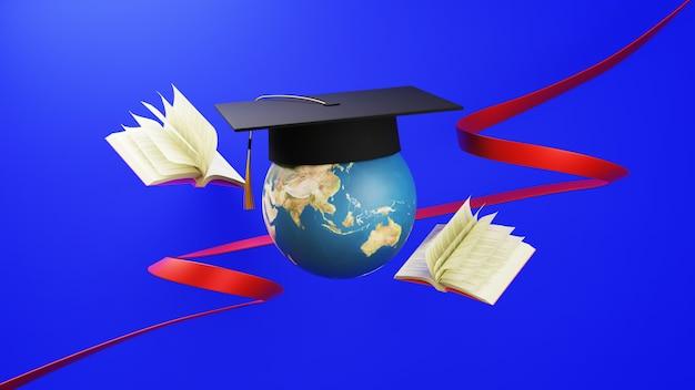 Koncepcja edukacji. 3d świata nosi kapelusz absolwenta otoczony książkami na niebieskiej ścianie. nowoczesna, płaska konstrukcja izometryczna koncepcja edukacji. powrót do szkoły.