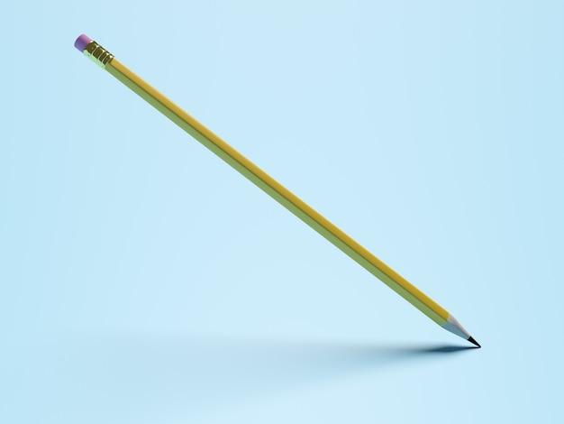 Koncepcja edukacji. ołówek z różową gumką i cieniem na niebieskim tle