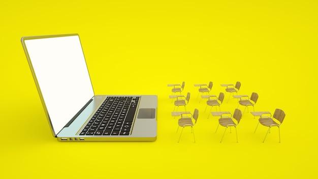 Koncepcja edukacji online e-learningu. ławki szkolne i laptop. domowa kwarantanna na odległość.