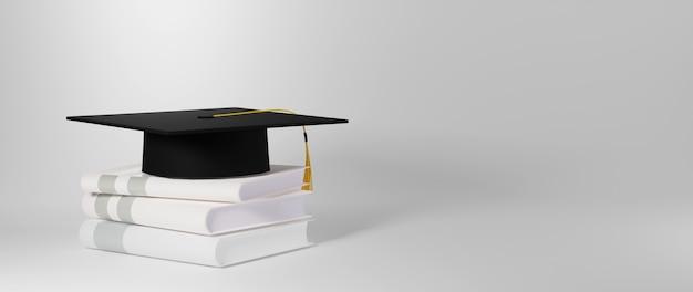 Koncepcja edukacyjna, kapelusz ukończenia szkoły na książkach na białym tle