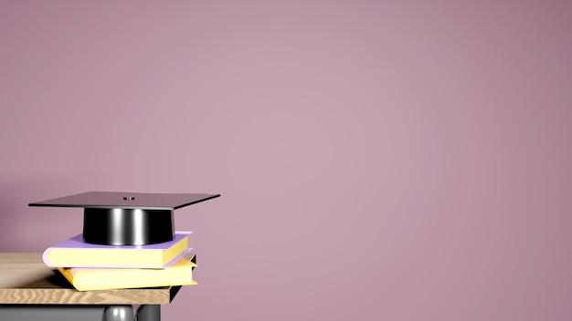 Koncepcja edukacyjna, kapelusz ukończenia szkoły na książkach na różowo