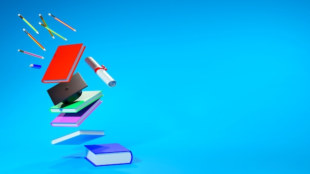 Koncepcja edukacyjna, książka i kapelusz ukończenia szkoły na niebiesko