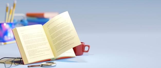 Koncepcja edukacyjna, książka i okulary na białym tle