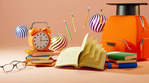 Koncepcja edukacyjna, książki i tornister na pomarańczowo