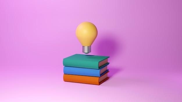 Koncepcja edukacyjna, książki i żarówka na różowo