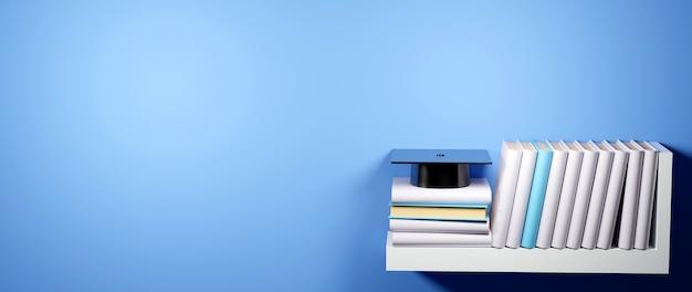 Koncepcja edukacyjna, książki na półkach i kapelusz absolwenta na niebiesko