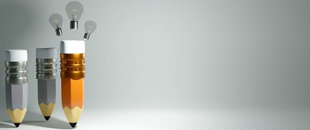 Koncepcja edukacyjna. renderowania 3d ołówka i żarówki na białej ścianie.