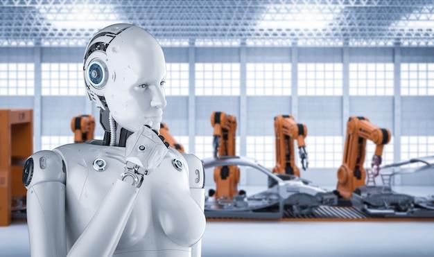 Koncepcja fabryki automatyzacji z renderowaniem 3d kobiecego cyborga w fabryce