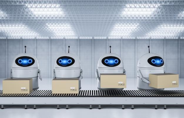 Koncepcja fabryki automatyzacji z robotem renderującym 3d z pudełkami na linii przenośnika w fabryce