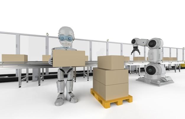Koncepcja fabryki automatyzacji z robotem renderującym 3d z pudłami na linii przenośnika w fabryce