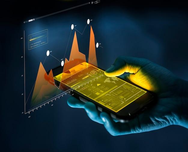 Koncepcja finansów i analizy biznesowej smartfona