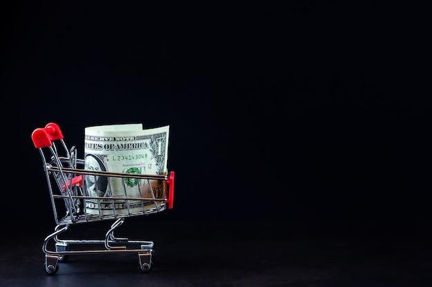 Koncepcja finansowa, banknoty w koszyku