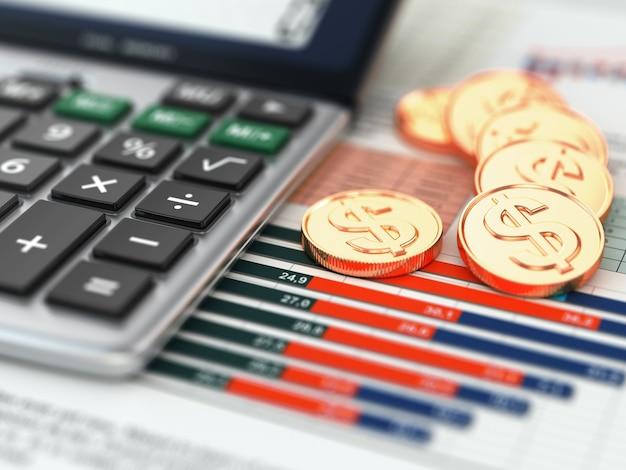 Koncepcja finansowa kalkulator monety i wykres 3d
