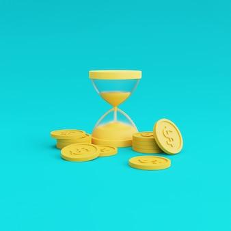 Koncepcja finansowa pieniądze i klepsydra