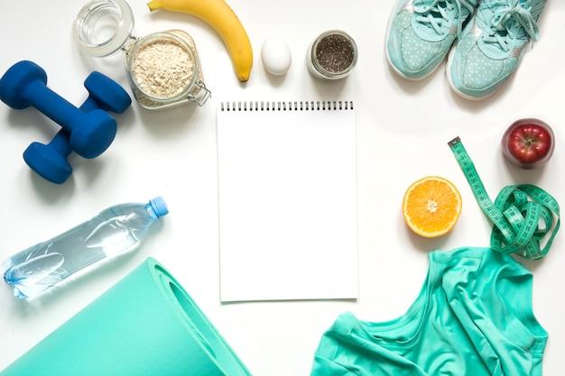 Koncepcja fitness i zdrowe odżywianie.