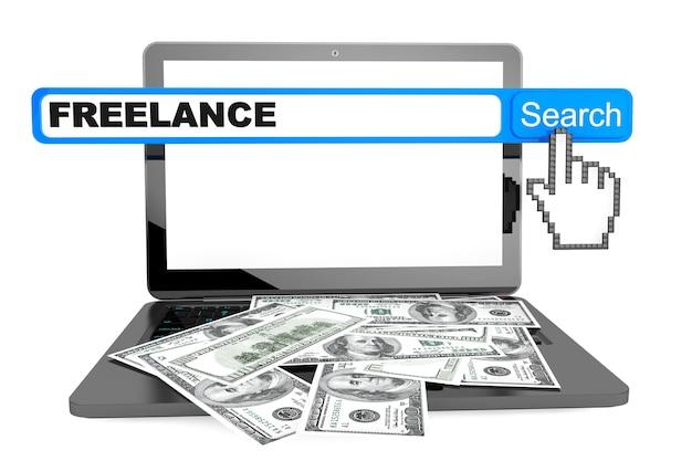 Koncepcja freelancera. nowoczesny laptop z wyszukiwaniem pieniędzy i freelancerów na białym tle