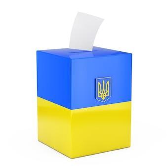 Koncepcja głosowania na ukrainie. papier do głosowania wpada do pola do głosowania z flagą ukrainy i herbem na białym tle. renderowanie 3d