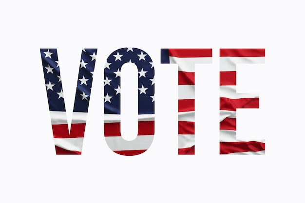 Koncepcja głosowania w usa. tekst z amerykańską flagą na białym tle