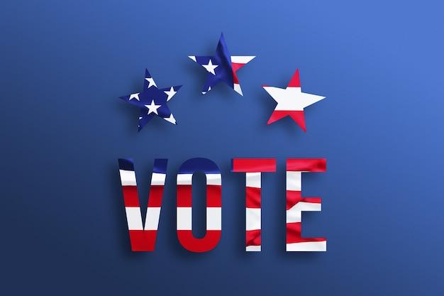 Koncepcja głosowania w usa. tekst z amerykańską flagą