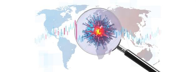 Koncepcja gospodarki światowej i koronawirusa. wpływ koronawirusa na świat. ilustracja 3d