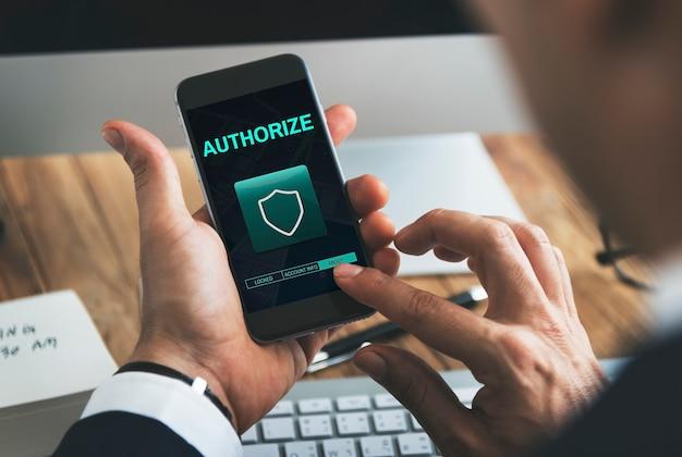 Koncepcja graficzna zabezpieczonych uprawnień tarcza ochrony danych