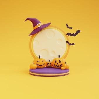 Koncepcja halloween, podium do wyświetlania produktu przy świetle księżyca w kapeluszu wiedźmy i dyni znaków. na żółtym renderowaniu background.3d.