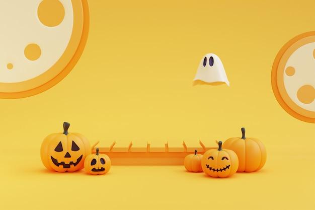 Koncepcja halloween, podium do wyświetlania produktu z postacią dyni, duch w świetle księżyca. na żółtym renderowaniu background.3d.