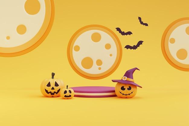 Koncepcja halloween, podium do wyświetlania produktu z postacią dyni w kapeluszu wiedźmy, w świetle księżyca. na żółtym renderowaniu background.3d.