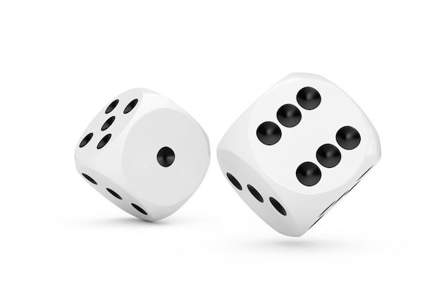 Koncepcja hazardu w kasynie. białe kostki kości gry w locie na białym tle. renderowanie 3d