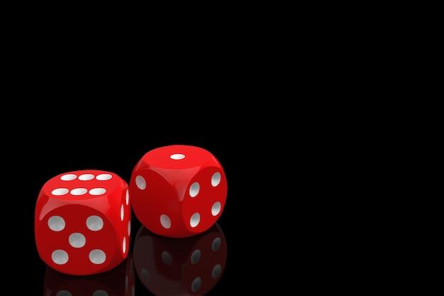 Koncepcja hazardu w kasynie. czerwone kostki do gry w locie na czarnym tle. renderowanie 3d