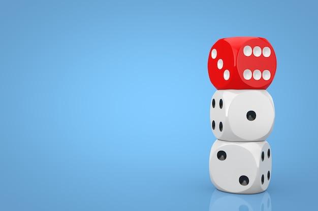 Koncepcja hazardu w kasynie. stos białych kostek do gry w kości z czerwonym na niebieskim tle. renderowanie 3d