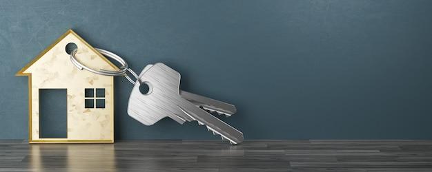 Koncepcja hipoteki, inwestycji, nieruchomości i nieruchomości - zbliżenie kluczy do domu. ilustracja renderowania 3d