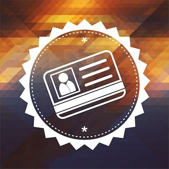 Koncepcja identyfikacji - ikona karty identyfikacyjnej. projekt etykiety retro. hipster tło z trójkątów, efekt przepływu koloru.