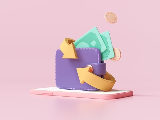 Koncepcja ikona zwrotu gotówki i pieniędzy. portfel, banknot i stos monet, płatność online na różowym tle. 3d ilustracja ender