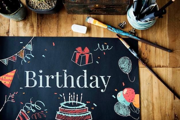 Koncepcja ilustracji tort urodzinowy