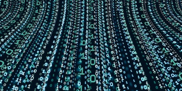 Koncepcja informacji o systemie komputerowym technologia abstrakcyjnego kodu binarnego tło z danymi binarnymi spadającymi z góry cyfrowego ekranu danych binarnych ilustracja 3d