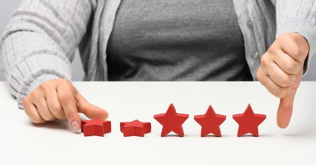 Koncepcja informacji zwrotnej na temat doświadczenia klienta. czerwone gwiazdki, słaba ocena usług z kobiecą ręką. biały stół
