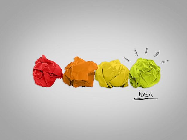 Koncepcja inspiracji z zmiętych papierów i metafory żarówki dla dobrego pomysłu