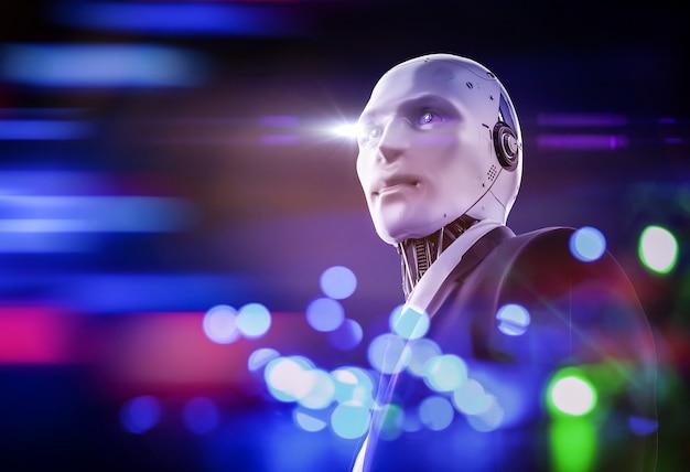 Koncepcja inteligentnego pracownika z renderowaniem 3d robota biznesmena nosi garnitur