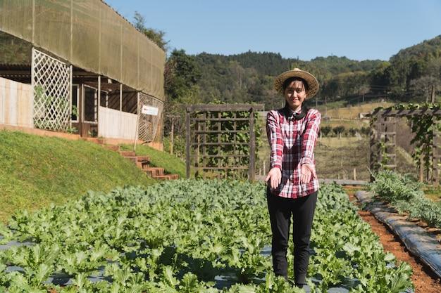 Koncepcja inteligentnego rolnika i produktów roślinnych; żeńska ogrodniczka sprawdza świeżo rośliny w gospodarstwie rolnym