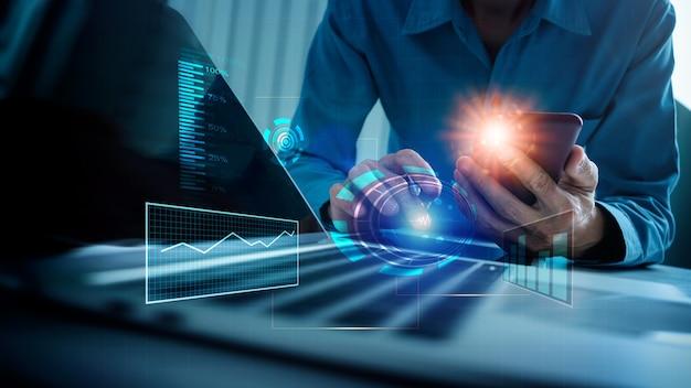 Koncepcja internet of things (iot) ai (sztuczna inteligencja), business webmaster programista kodujący opracowujący kod internetowy za pomocą technologii vr data mining online.