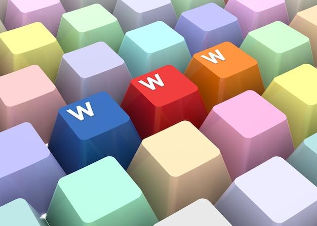 Koncepcja internetu www. obraz generowany cyfrowo. renderowanie 3d