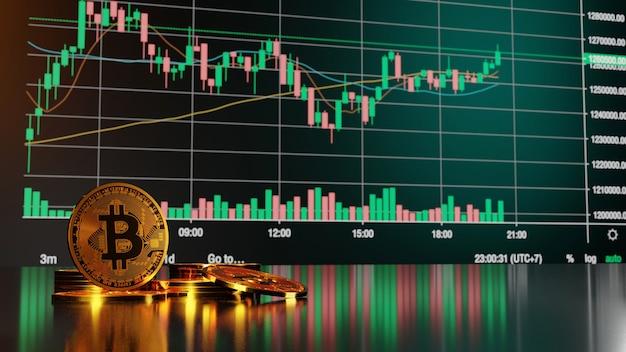 Koncepcja inwestowania w bitcoiny i kryptowaluty. renderowanie 3d.